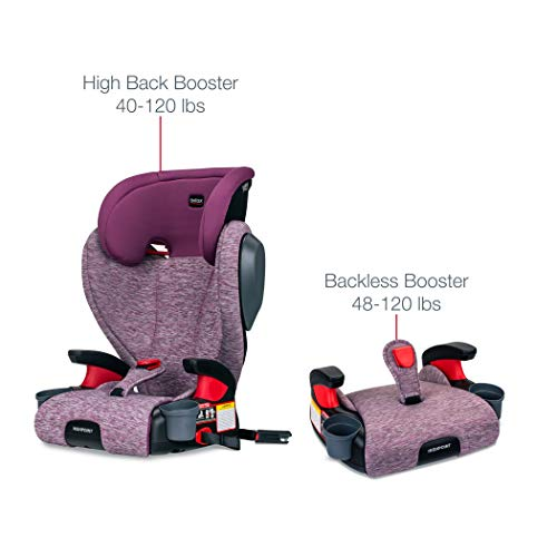 411omqrQ7dL - Britax Highpoint 2-Stage Belt-Positioning Booster Car Seat - Highback And Backless | 3 Layer Impact Protection - 40 To 120 Pounds, Mulberry
