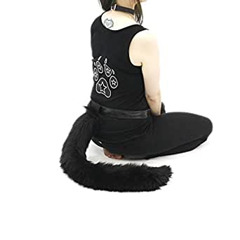 Pawstar Furry Kitty Cat Costume Tail Cosplay - Black