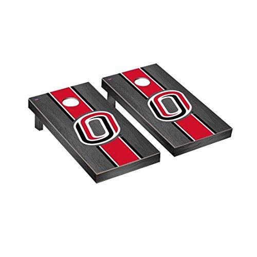 Victory Tailgate University of Nebraska Omaha UNO Mavericks Regulation Cornhole Game Set Onyx Stained Stripe Version 2