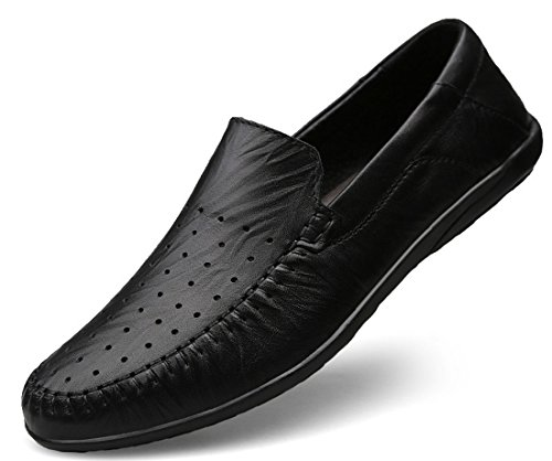 Tda Mens Komfort Ventilerande Mesh Slip-on Läder Penny Loafers Sy Avslappnade Skor Stil 1-svart