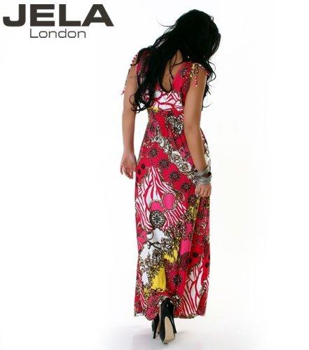 JELA London - Vestido - con aberturas - Floral - Sin mangas - para mujer Rosa