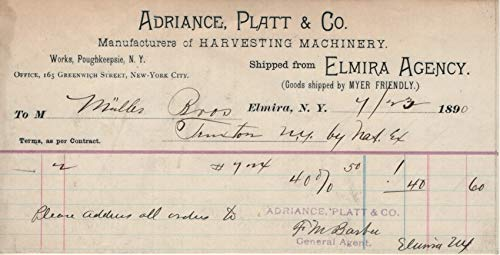 Adriance, Platt & Co, Manufacturer of Harvesting Machinery 1890 Invoices/Receipts (Muller Bros.)