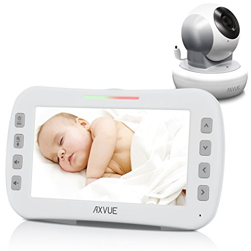Axvue E650 Video Baby Monitor with 5.0'' LCD Screen and Pan Tilt Camera, Night Vision, Temperature Detection, Upto 800' and 8 Hours, Two Way Talk, 360/120 Degree for Pan/Tilt by Axvue