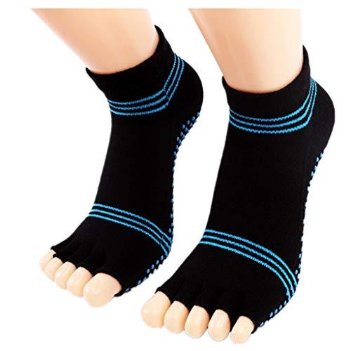 Iuhan  Women Toe Socks Cotton Lightweight No Show Five Fingers Running Socks Crew Sock (Black)