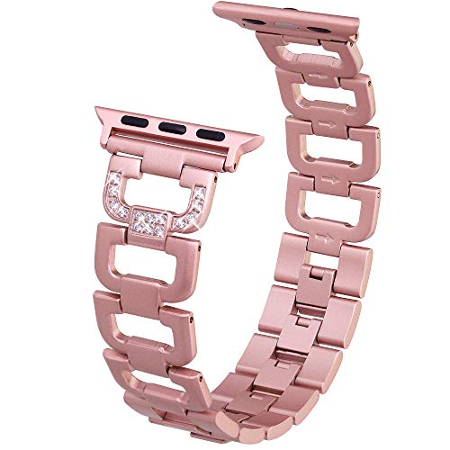 Edgy Tech Compatible Band for Apple Watch - Diamond Rhinestone Studded Stainless Steel Rose Gold Replacement Strap for 38-40mm Series and Models - Elegant D-Link Design Bracelet - Adjustable Size