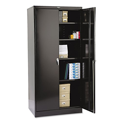 Tennsco 2470BK 36 by 24 by 78-Inch Deluxe Steel Storage Cabinet with 4 Adjustable Shelves, Black (Steel Deluxe Cabinet Storage)