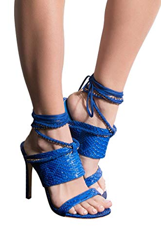 (CAPE ROBBIN Faux Snake 2 Strap Mule Chain Wrap Lace Up Sexy Stiletto Sandals -BLUE SNAKE_7.5 )