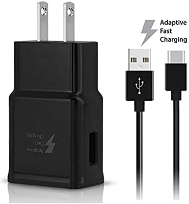 15W with certified USB Type-C Data and Charging Cable. BLACK//3.3FT//1M Cable OEM Adaptive Fast Charger for LG G6