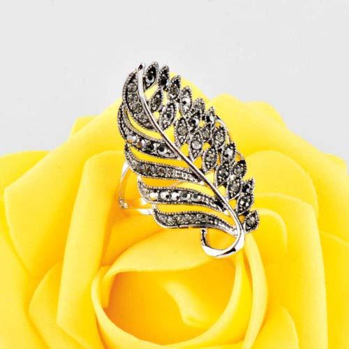 8 Ravewan Shop Vintage Black Leaf Carvings Mounted Shine Curbic Zirconia Antique Women Ring