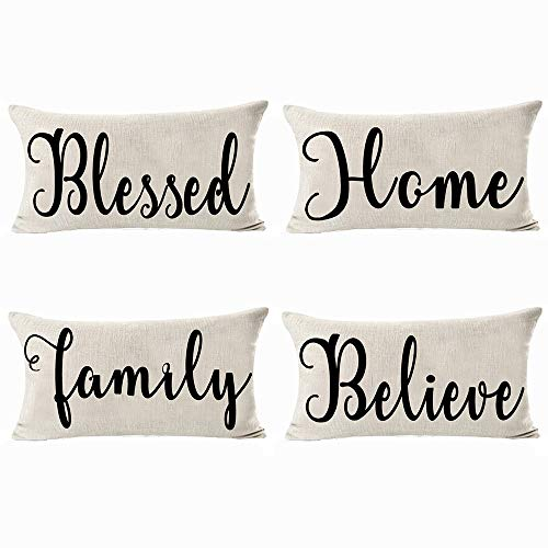 Andreannie Set of 4 Blessed Home Family Believe Cotton Linen Decorative Lumbar Throw Pillow Case Personalized Cushion Cover for Sofa Living Room Rectangle12 X 20 Inches ¡ (Set of 4)