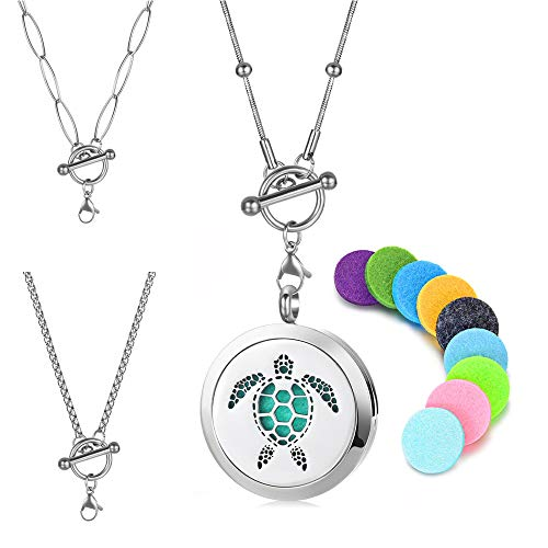 Vocheng Turtle Stainless Steel Aromatherapy Essential Oil Diffuser Necklace Locket Pendant Jewelry with 3pcs 20