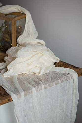 Ivory cheesecloth gauze table runner 27