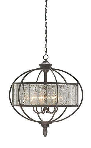 Light Florence Six Chandelier (Currey and Company 9330 Florence - Six Light Chandelier, Bronze Gold/Raj Mirror Finish)