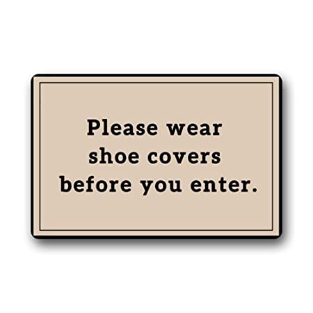 custom please wear shoes covers before you enter grey doormats