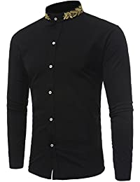 Mens Hipster Gold Embroidery Mandarin Collar Slim Fit Long Sleeve Casual Dress Shirts