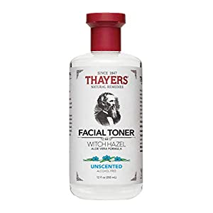 Thayers Alcohol-Free Unscented Witch Hazel Facial Toner with Aloe Vera Formula – 12 oz