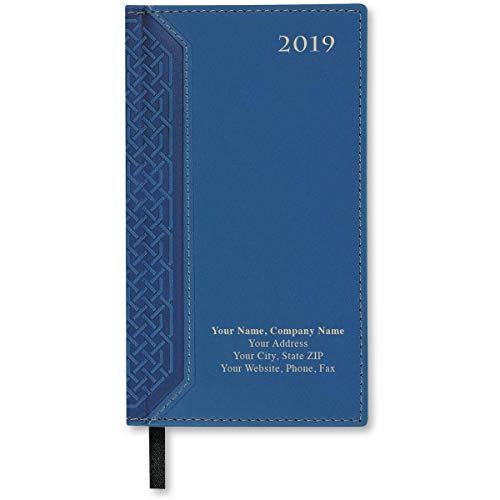 Blue 2019 Custom Imprinted Pocket Calendars, 3 5/8 Inch Wide x 6 1/2 Inch High, Gold Foil Imprint, 50 Count