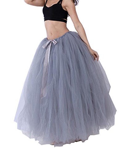 Maternity Long Skirts - Handmade Maternity Photography Tutu Tulle Skirts 100cm Long Overskirt for Wedding Party (Grey)