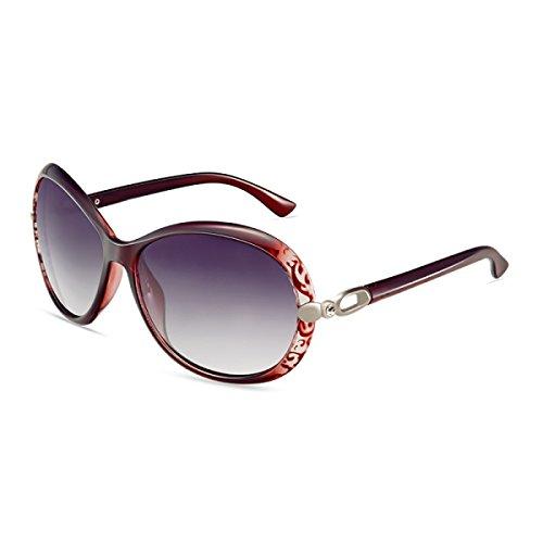 Gafas LQQAZY Red Gafas Sol Polarizado Marea Grande De Sol De Brown Femenino Caja Gafas Conducción Retro ZZArO