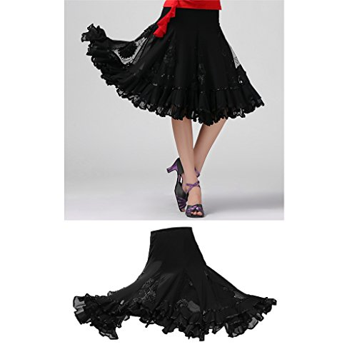 Swing Baoblaze Sequins Ballroom Practice Dance Skirts Performance Long Floral Black XXrp7U