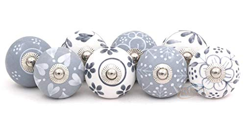 Set of 8 Assorted Vintage White and Grey Hand Painted Ceramic Round Knobs Cabinet Drawer Handles Pulls by The Metal Magician