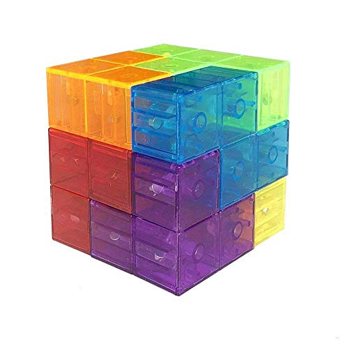 - Wtohobby Magic Magnetic Building Block - Educational Magnetic Tiles Kids Stress Relief Toy Puzzle Cubes to Develops Intelligence, (Transparent)