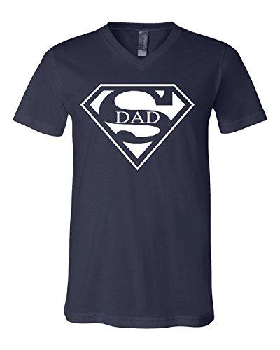Super Dad V-Neck T-Shirt Funny Superhero Father's Day Tee Navy Blue (Navy Blue Super Dad T-shirt)