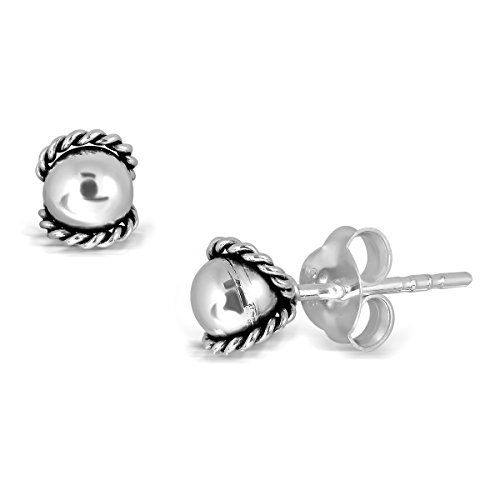 WithLoveSilver 925 Sterling Silver Oxidized Ball Knot Rope Twist Stud Earrings