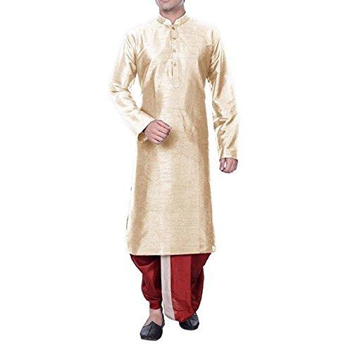 Kurta Dhoti (Royal Kurta Men's Cotton Silk Dhoti Kurta Set 40 Beige-Maroon)