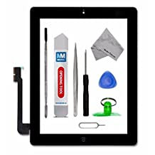 Digitizer for IPAD 3 BLACK Touch Screen Front Display Glass Assembly - Incl Home Button and flex + Camera Holder + Pre Installed Adhesive Stickers + Professional Tool kit + Bezel Frame