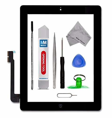 MMOBIEL Digitizer for iPad 3 (Black) Touch Screen Front Display Assembly Incl Home Button flex Camera Holder Pre Installed Adhesives and Tool kit (Screen A1416 Replacement)