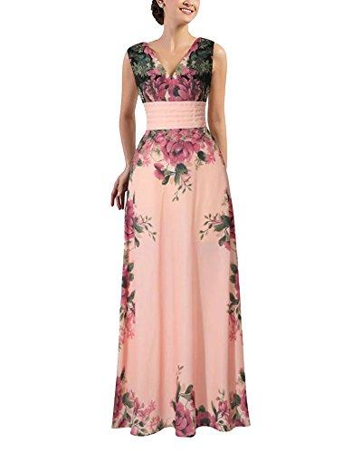 Floral Robe de Soirée Longue Femmes Balle Prom Dresse Robe sans Manches Comme Image XL