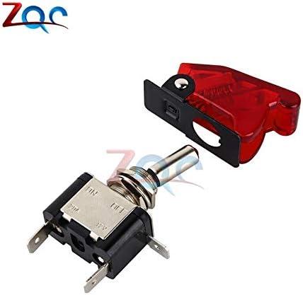 Car Auto Cover Racing Rojo LED SPST Encendido Apagado Tipo de avi/ón Interruptor de palanca Control Flip Cover 12V 20A