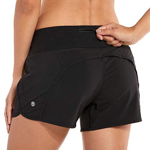 (CRZ YOGA Women's Workout Sports Running Shorts Pants with Zip Pocket - 4 inch Black 4''-R403 XXS(00))