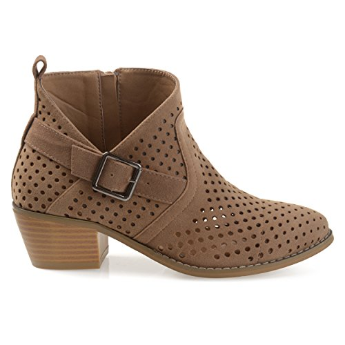 (Brinley Co. Womens Perforated Faux Suede Stacked Heel Asymmetrical Booties Tan, 6.5 Regular US)