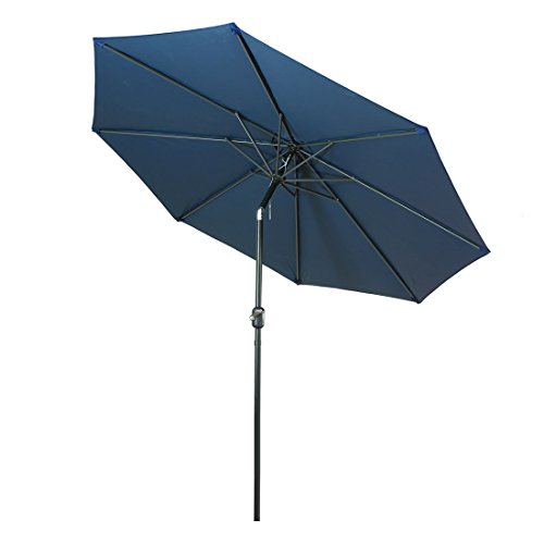 Balichun 9 Ft Outdoor Table Aluminum Patio Umbrella Market Umbrella with Push Button Tilt and Crank, 8 Steel Ribs (Navy blue) 8' Patio Umbrella