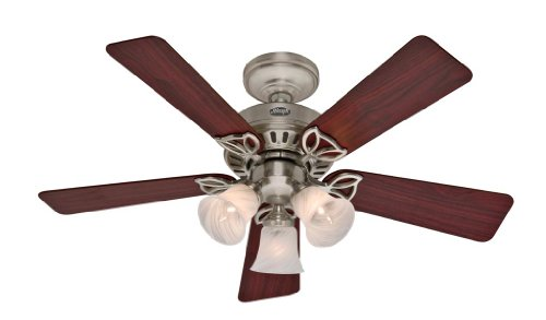 42' Star (Hunter 20431 Beacon Hill Three-Light 42-Inch Five-Blade Ceiling Fan, Brushed Nickel with Frosted Globes)