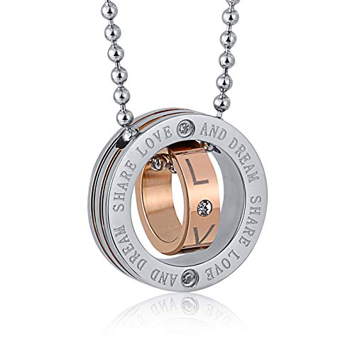Tabitha Jewelry Box - ANAZOZ Jewelry Stainless Steel Pendant for Men and Women Engraved English Circle Rose Gold