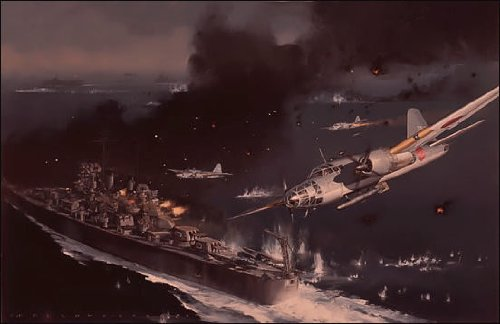 Ordeal of the USS Houston, by Jack Fellows - 199 Signed and Numbered Prints by Aviator Art