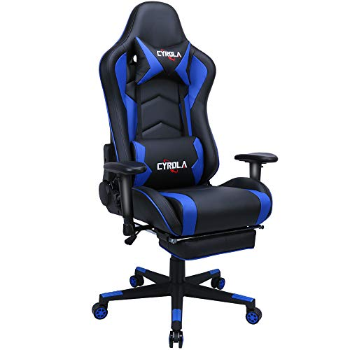 Cyrola Large Gaming Chair with Footrest High Back Adjustable Armrest Heavy Duty Computer Racing Gaming Chair for Adults Gamer Chair Ergonomic Design Video Game Chair Lumbar Support Blue/Black