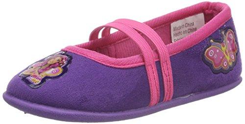 Mia & Me Mädchen Girls Kids Ballerina Houseshoes Flache Hausschuhe, Violett (Pur/Dfux 070), 31 EU