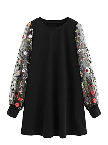 (DIDK Round Neck Floral Embroidered Mesh Sleeve Pullover Tunic Dress Black XL)