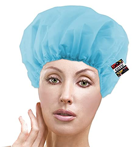 3 x COTU (R) Shower Cap Terry Lined - Random Colors (One Size Fits All)