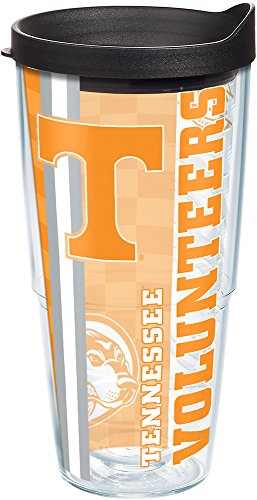 Tervis 1214832 Tennessee Volunteers College Pride Tumbler with Wrap and Black Lid 24oz, (Tennessee Volunteers Tervis Tumbler)