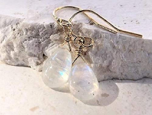 Rainbow Moonstone Dangle Drop Gemstone Earrings 14K GF- Jewelry Gift For -