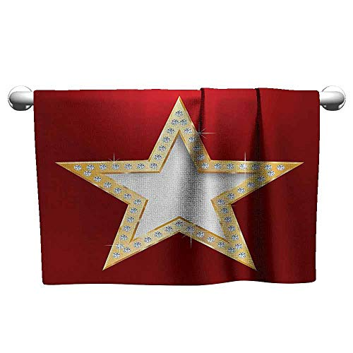 Mannwarehouse Diamond Decor Collection Beach Activity Bath Towel Polished Blowing Star with Crystal Silver Flash Diamonds Show Celebration Party Decor W8 x L23 Red Golden