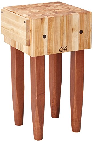 John Boos Block PCA1-CR Maple Wood End Grain Solid Butcher Block Table with Side Knife Slot, 18 Inches x 18 Inches x 10 Inch Top, 34 Inches Tall, Cherry Stained Legs