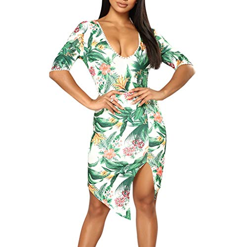 Witspace Fashion Women Casual Sexy O-Neck Leaf Print Back Banded Five-Sleeve Dress