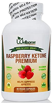 Pure Raspberry Ketones with African Mango, Green Tea Extract, Acai Fruit and Resveratrol for Weight Loss- Maximum Strength Blend- By Wellsome Nutrition- 60 Count