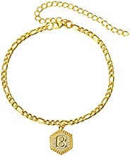 Initial Anklet Gold Ankle Bracelets for Women Figaro Chain Anklets Adjustable Letter Alphabet Foot Chain Ankle